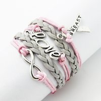 Wholesale Pink Bracelet Cord - Wholesale-Multilayer friendship Leather Rope Handmade Pink wax Cotton cord Imitation leather velvet Breast Cancer Ribbon Bracelet