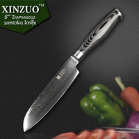 "Wholesale Forging Damascus - Wholesale-HIGH QUALITY 5"" Japanese VG10 Damascus steel chef knife kitchen knife santoku knife with forged color wood handle FREE SHIIPPING"