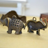 Wholesale Elephant Bronze Tone Charms - 20pcs Alloy antique bronze tone metal charms elephant pendants diy jewelry findings fit jewelry making Z142187