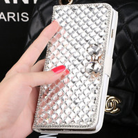 Wholesale bling wallet case plus online – custom For iphone Luxury Bling Rhinestone Diamond wallet Flip leather cover case For Iphone s plus Iphone s Galaxy S7 edge Note