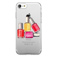 Wholesale Nail Polish Cases - Unique Cute red nail polish cosmetics Clear Transparent Soft Silicon Phone Case Back Cover for iPhone 8s plus iphone X TPU Carcasa shell