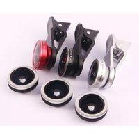 Wholesale Detachable Wide Angle Lens - free shipping OD-088 3 in 1 detachable lens kit super fisheye 185 degree 0.45X wide angle & 10X macro