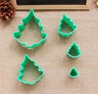 Wholesale Die Cut Plastic - Free shipping 5 pieces of plastic mold cookie cake cut the christmas trees die cutting die mold cookie cutter mold D785