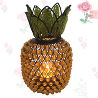 Wholesale Classic wrought iron beaded candle holders pineapple Candlestick good luck Candlestick factory outlets