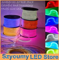Wholesale Tube Type Flexible Led - Super bright 5050 SMD LED strip 220V- 240V high voltage Tube type Waterproof flexible SMD led strip 60leds M With PLUG