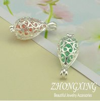 Wholesale Drop Glass Pendant Necklaces - Wholesale-P2274,12*15MM Silver Plated Filigree Cage Pendant;Pearl Cage,Tear Drop Brass Sea Glass Lockets,MOQ: 20Pcs Lot