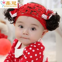 Wholesale Wholesale Baby Hair Lace Wigs - New lace flower children hair bow ribbon Korean baby hair accessories with headband wig Yiwu jewelry wholesale