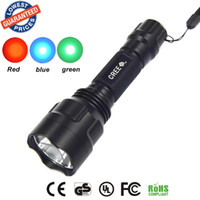 Wholesale Blue Led Driving Lights - C8 CREE LED Flashlight Blue + Red + Green Night Vision Light Torch led torch flashlight torch light
