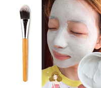 Wholesale facial brush bamboo online - 2016 Brand New Woman Makeup Brushes Bamboo Handle Facial Mask Makeup Brush Face Beauty Brushes
