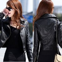 Wholesale Short Leather Jackets For Ladies - Fashion Women Lady Slim Jacket Coat Long Sleeve Zipper Short Coat Outwear US6-14 For Free Shipping