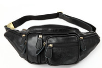 Wholesale Waist Chest Bag Leather - Vintage Waist Bags Casual Outdoor 100% Genuine Leather Cowhide Men Men's Belt Waist Bag Pack Packs Clutch Chest Bags 3037