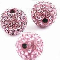 Wholesale pink disco ball bracelets resale online - Discount Pink mm pack fashion Rhinestone Pave Disco ball Shamballa Crystal beads for Bracelet
