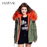 rakun palto stilleri toptan satış-Toptan-JAZZEVAR kadın ordu yeşil Büyük rakun kürk yaka kapşonlu coat parkas dış giyim 2 in 1 ayrılabilir astar kış ceket marka tarzı