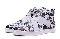 2018 Moda Red Bottom High Top Mulheres, Men Sneakers Navy camo leopard print Shoes, redbottom Luxo Designer Flat Shoes, Dress Party Wedding