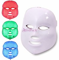 Wholesale Led Beauty Home Machines - LED Facial Mask with Red Blue Green 3 color PDT Photon beauty machine for home use skin care rejuvenation whitening facial machine