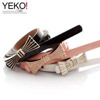 Wholesale Thin Patent Leather Orange Belt - YEKO fresh wild sweet little bow metal buckle thin belt women's candy-colored patent leather thin belt