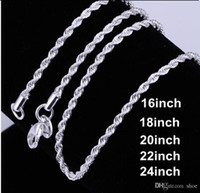 Wholesale Sterling Silver Rope Chain 3mm - 20pcs mixed size 16-24inches silver jewelry 925 Sterling Silver pretty cute fashion charm 3MM rope chain necklace jewelry