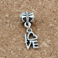 MIC .50pcs / lot Dangle Ancient Silver Love Charms Big Hole Beads Fit European Charm Bracelet Jóias 8 X26MM
