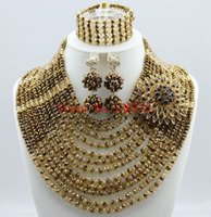 Splendid Nigerian Wedding Beads Jewellry Set Ensemble de collier Choker Ensemble de bijoux nuptiales pour femmes africaines Plaqué or Free Ship SY121-9
