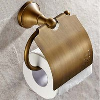 Wholesale Tissue Holders Retail - Free Shipping Wholesale And Retail Antique Brass Bathroom Wall Mounted Toilet Paper Holder Tissue Holder W  Cover