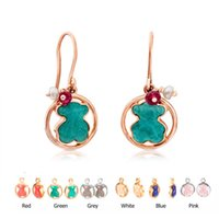 Wholesale Earrings Colorful Stones - New style Gold Silver plated stainless steel Colorful natural stone earrings fashion new edition brand jewelry Mujer pendientes oso 6 colors