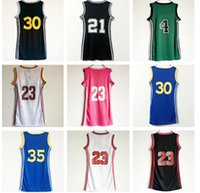 Wholesale Dress 23 - 2017-18 New Women #30 #35 #23 # 21 Skirt Jerseys Blue Pink Red Dress With player name