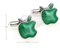 Wholesale Green French Cuff Shirt - Alloy Male French shirt cufflinks Cufflinks - Cufflinks AE7496 gem of green apple