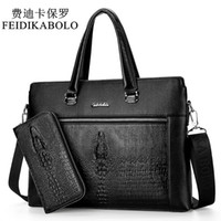 FEIDIKABOLO Luxo Black Handbags Men Messenger Bag PU Leather Man Bags Crocodilo Male Men's Briefcase Man Casual Shoulder Bag