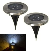 Wholesale Stainless Deck Light - New Outdoor LED Landscape Lawn Lights IP65 Solar 2 LED Deck Light Stainless Steel Finish Garden Pathway Underground Light
