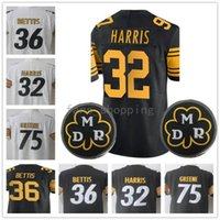 Uomo Pittsburgh 32 Harris 36 Jerome Bettis 75 Joe Greene Embroidery Logos 100% cuciti