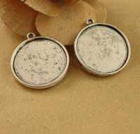 kolye tepsisi yuvarlak gümüş cabochon toptan satış-(40 adet) sığacak için 25mm yuvarlak cabochon gümüş / antik gümüş / antik bronz kaplama vintage stil alaşım çift kolye tepsi ayarları hd1166