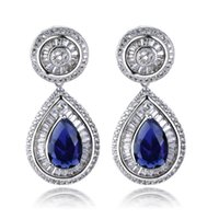 Wholesale Teardrop Dangle Earrings Blue - Platinum filled Large teardrop cz earrings dangle drop earrings jewelry for statement paved with AAA cubic zirconia