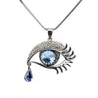 Wholesale D Pendants - Latest Summer Style Eye Shape Blue Rhinestone GunBlack Long Chain Pendant Necklace Kolye ve Kolye