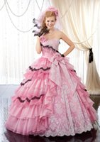 Wholesale Images Colourful Gowns - New Glorious Pink Quinceanera Dresses 2015 Strapless Colourful Tiers Appliques Flower Ball Gown Floor Length Prom Dresses Princess Dresses