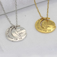 Wholesale Family Holiday Party - Fashion Necklace Moon Necklace I Love You To The Moon And Back For Mom Sister Family Pendant Link Chain Jewelry Holiday Gift