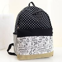 Wholesale Design Men Camping Backpack - Pretty dots design summer camp canvas fashionable women backpack middle school student book bag leisure backpack