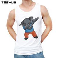 Wholesale Elephant Vest - Wholesale- 2017 Dabbing Unicorn Men tank tops Elephant Dancing printed Shirts Cute Panda Pug Cat Design male o-neck casual Vest