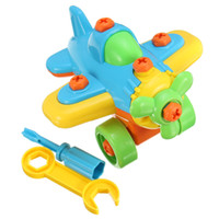 Wholesale Small Wooden Planes - Wholesale- New DIY Disassembling Small Plane Building Blocks Children Assembled Model Tool clamp With Screwdriver Educational Toys