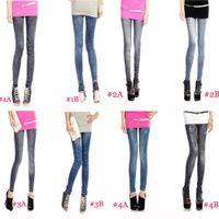 Wholesale Wholesale Jean Leggings - Wholesale-Free shipping HOT Women's Fashion Leggings Stretchy Skinny Leg Pants Jean Jegging 6pcs lot D001