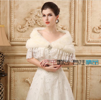 Wholesale Real Steal - In Stock White Ivory Lace Faux Fur with Brooch Winter Shrug Capes Stole Wrap Shawl Wedding Bridal 2015 Bride Bridesmaid Cheap Real Image