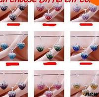 Wholesale Drop Ship Shamballa Bead Sets - free shipping ab clay can choose color free shipping mixed Crystal Beads mix Gradient Heart Shamballa set drop earrings Necklace Pendant