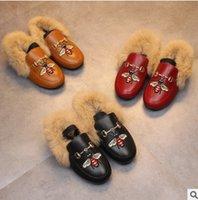 Wholesale Wholesale Black Velvet Fabric - Girls faux fur shoes fashion children cute bees embroidery elastic princess shoes winter kids velvet thicken warmer PU leather shoes R1116