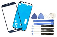 Wholesale Galaxy S3 Lcd Kit - 50Pc Lot Replacement LCD Front Touch Screen Glass Outer Lens For Samsung Galaxy S4 i9500 i9505 Black White Blue Tool Kits Adhensive