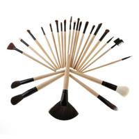 pinceles de maquillaje de pelo de cabra de color al por mayor-color de madera 24Pcs Pinceles de maquillaje profesional con kit de cepillo cosmético del pelo de cabra herramienta con suave estuche DHL