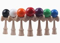 Wholesale Paint Free Games - Big size 19*6cm Kendama Ball Japanese Traditional Wood Game Toy Education Gift Amusement Toys PU paint 15 colors DHL Free
