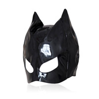Wholesale Leather Masking - Sexy Cat Mask Sexy Cats Eye Mask Catsuit Costume Black Leather Hood Sexy Lingerie Fancy Dress Cosplay Accessory B0301027