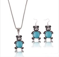 Wholesale Teddy Bear Jewelry Set - Wholesale-Vintage style Bohemia cute Teddy Bear hollow-out pendant Necklace Drape Earrings Turquoise necklace earrings jewelry set TN-8
