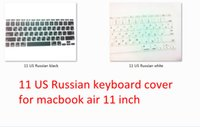 Wholesale Cheapest Keyboard Covers - Wholesale-cheapest 10pcs US Russian Soft Silicone Keyboard Protector Skin Cover Film For Apple Macbook Air 11'' Hot Sale New