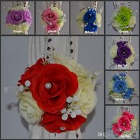 Wholesale Wedding Background Blue Color - Elegant Artificial Rose Silk Flowers Background Gauze Curtain Clip Bouquets For Wedding Decor Prop Backdrop Decoration Accessories 9 color