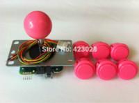 Wholesale Pink Joystick - Pink Sanwa Joystick JLF-TP-8YT with 6 Buttons OBSF-30 arcade jamma game kit free shipping joystick for computer games
